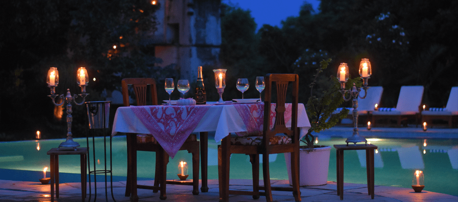 Candle Lit Dinner at the Pool